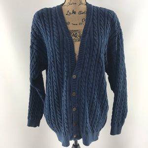 Lizwear thick heavy chunky knit blue cardigan L